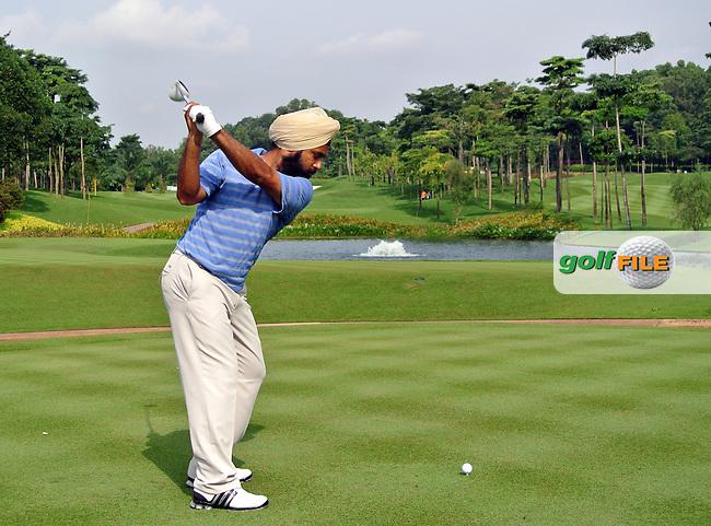 Sujjin Singh (IND) on the 6th on Day 2 of the Maybank Malaysian Open 2012 at Kuala Lumpur Golf and Country Club, Kuala Lumpur, Malaysia...(Photo Jenny Matthews/www.golffile.ie)
