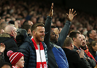 Liverpool fans in The Kop celebrate after Manchester City's Riyad Mahrez lifts his late penalty effort high over the Liverpool goal<br /> <br /> Photographer Rich Linley/CameraSport<br /> <br /> The Premier League - Liverpool v Manchester City - Sunday 7th October 2018 - Anfield - Liverpool<br /> <br /> World Copyright &copy; 2018 CameraSport. All rights reserved. 43 Linden Ave. Countesthorpe. Leicester. England. LE8 5PG - Tel: +44 (0) 116 277 4147 - admin@camerasport.com - www.camerasport.com