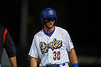 Rancho Cucamonga Quakes designated hitter Cody Thomas (30) during a California League game against the Lake Elsinore Storm at LoanMart Field on May 19, 2018 in Rancho Cucamonga, California. Lake Elsinore defeated Rancho Cucamonga 10-7. (Zachary Lucy/Four Seam Images)