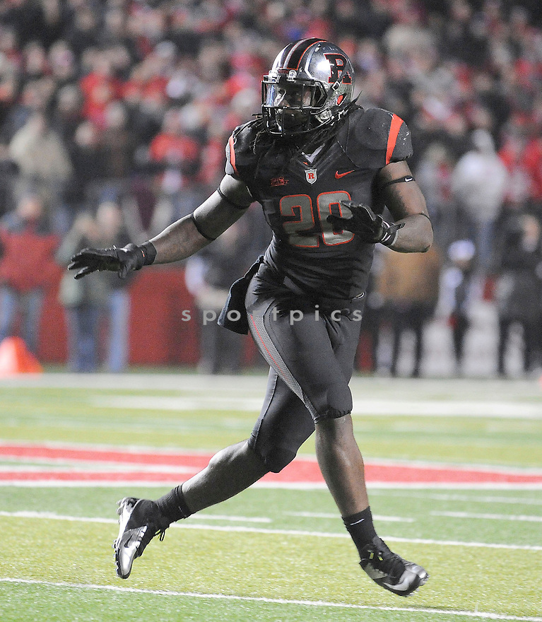 Rutgers Scarlet Knights Khaseem Greene (20) in action during the Big East Championship game against Louisville on November 29, 2012 at High Point Solutions Stadium in Piscataway, NJ. Louisville beat Rutgers 20-17.