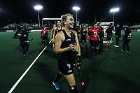 Liz Thompson celebrates during the World Hockey League quarter final match between Argentina and New Zealand. North Harbour Hockey Stadium, Auckland, New Zealand. Wednesday 22 November 2017. Photo:Simon Watts / www.bwmedia.co.nz