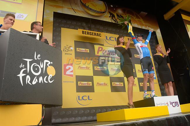 Ramunas Navardauskas (LTU) Garmin-Sharp wins a wet Stage 19 of the 2014 Tour de France running 208.5km from Maubourguet Val d'Adour to Bergerac. 25th July 2014.<br /> Photo ASO/B.Bade/www.newsfile.ie