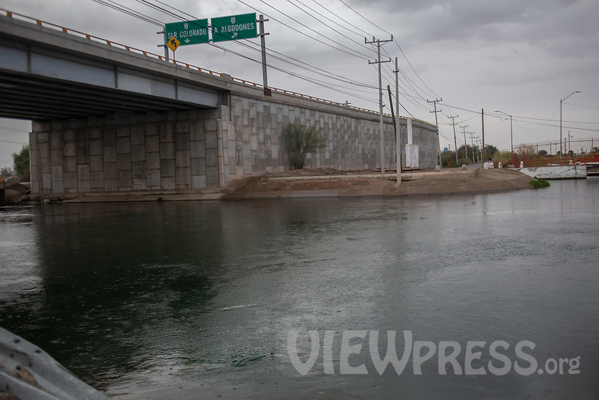 MEXICALI, MEXICO - March 11. A general view of the river near the US-Mexico border on March 11, 2019 in Mexicali, Mexico.<br /> The rivers usually end in the sea, the Colorado dies in a border. Its the only case like this in the world. There is less water in the Colorado River, hence less water in crops and areas of northern Mexico.  <br /> (Photo by Luis Boza/VIEWpress)