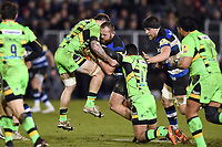 Tom Dunn of Bath Rugby crashes into Teimana Harrison of Northampton Saints. Aviva Premiership match, between Bath Rugby and Northampton Saints on February 9, 2018 at the Recreation Ground in Bath, England. Photo by: Patrick Khachfe / Onside Images