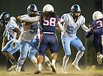 Lawndale, CA 10/14/16 - Robert Skeen (North Torrance #55), \n50\ and Sione Tukutau (Leuzinger #58) in action during the North Torrance vs Leuzinger CIF League football game.