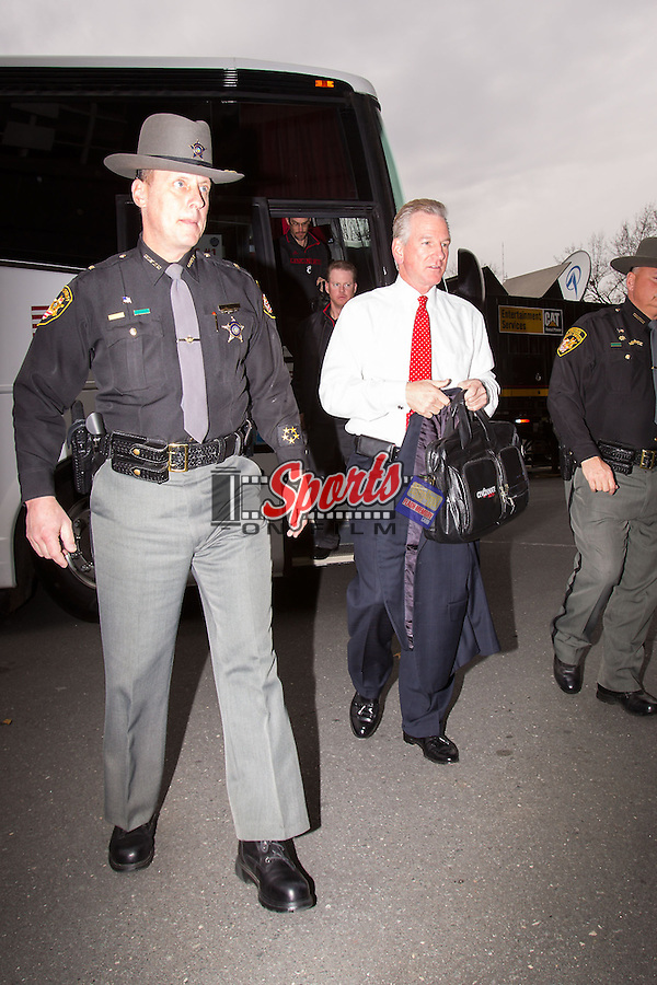 Cincinnati Bearcats head coach Tommy Tuberville makes his way into Bank of America Stadium prior to the Belk Bowl against the North Carolina Tar Heels on December 28, 2013 in Charlotte, North Carolina.  The Tar Heels defeated the Bearcats 39-17.   (Brian Westerholt/Sports On Film)
