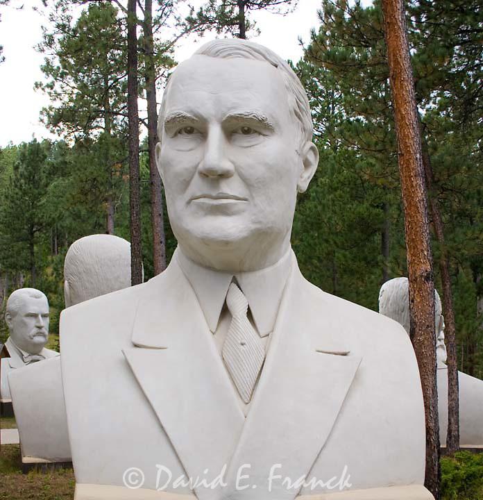 Warren G. Harding bust by sculptor David Adickes at Presidents Park in Lead South Dakota