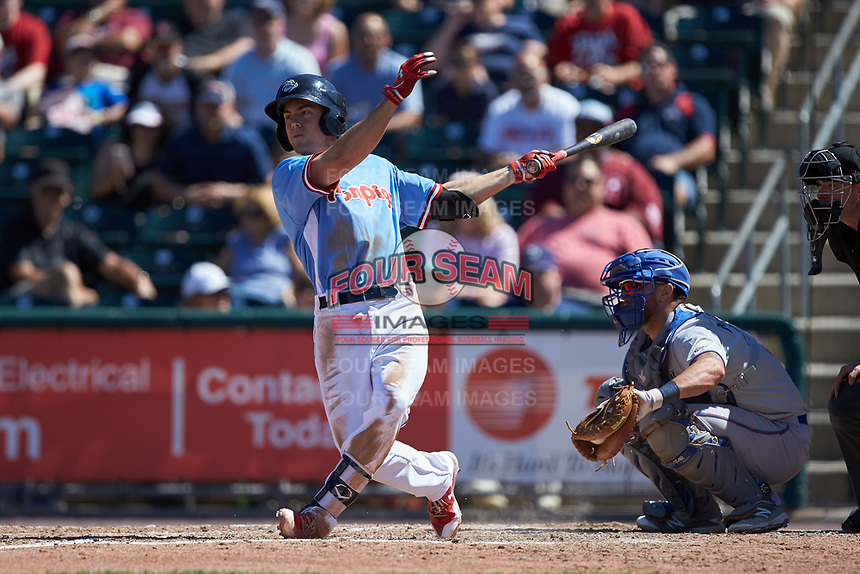 Scott Kingery (11) of the Lehigh Valley Iron Pigs follows through on his swing against the Durham Bulls at Coca-Cola Park on July 30, 2017 in Allentown, Pennsylvania.  The Bulls defeated the IronPigs 8-2.  (Brian Westerholt/Four Seam Images)