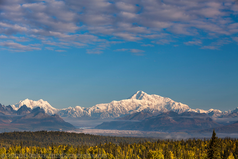 View of  Denali's south side, North America's tallest peak at approximately 20,237 ft. (6,168m),  Alaska.