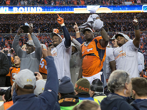 24.01.2016. Denver, Colorado, USA. The NFL AFC Championship American Football match.   Broncos celebrate during their victory celebrations at Sports Authority Field at Mile High Sunday afternoon. The Broncos beat the Patriots 20-18.