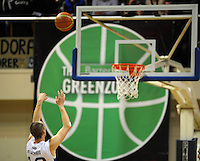 Giants guard Phill Jones shoots a penalty. NBL Semifinal - Wellington Saints v Nelson Giants at TSB Bank Arena, Wellington, New Zealand on Friday, 15 July 2011. Photo: Dave Lintott / lintottphoto.co.nz