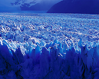 Rich Blues of the Moreno Glacier, Los Glaciares National Park, Argentina   Face calving from glacier  UNESCO World Heritage Site
