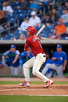 Clearwater Threshers Mickey Moniak (2) hits a double during a game against the Dunedin Blue Jays on April 6, 2018 at Spectrum Field in Clearwater, Florida.  Clearwater defeated Dunedin 8-0.  (Mike Janes/Four Seam Images)