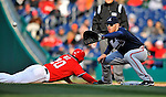 2 April 2011: Atlanta Braves first baseman Freddie Freeman in action on a pickoff attempt on Laynce Nix of the Washington Nationals at Nationals Park in Washington, District of Columbia. The Nationals defeated the Braves 6-3 in the second game of their season opening series. Mandatory Credit: Ed Wolfstein Photo