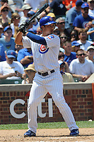 Chicago Cubs second baseman Darwin Barney #15 awaits a pitch during a game against the Arizona Diamondbacks at Wrigley Field on July 15, 2012 in Chicago, Illinois. The Cubs defeated the Diamondbacks 3-1. (Tony Farlow/Four Seam Images).
