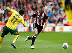 Chris Basham of Sheffield Utd gets past Josh Murphy of Norwich City during the Championship match at Bramall Lane Stadium, Sheffield. Picture date 16th September 2017. Picture credit should read: Simon Bellis/Sportimage