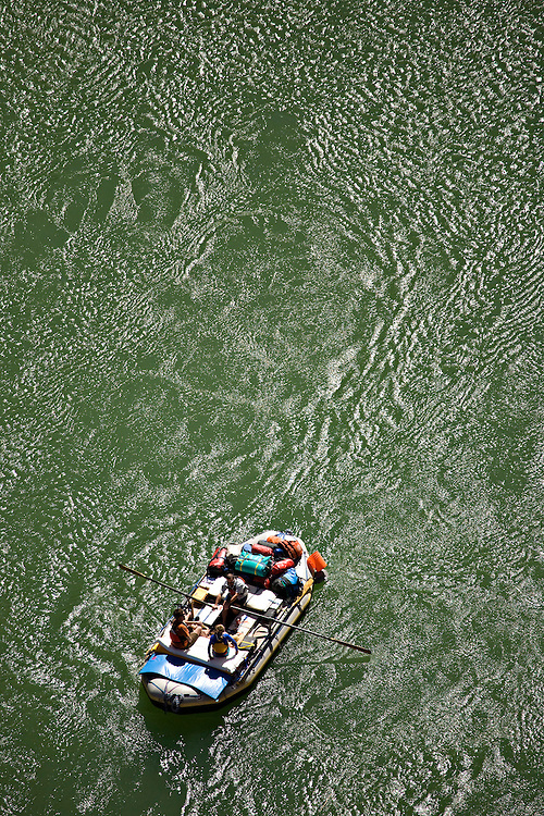Aerial view of raft on the Colorado River