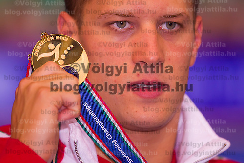 Daniel Gyurta of Hungary celebrates his victory in the Men's 200m Breaststroke of the 31th European Swimming Championships in Debrecen, Hungary on May 23, 2012. ATTILA VOLGYI