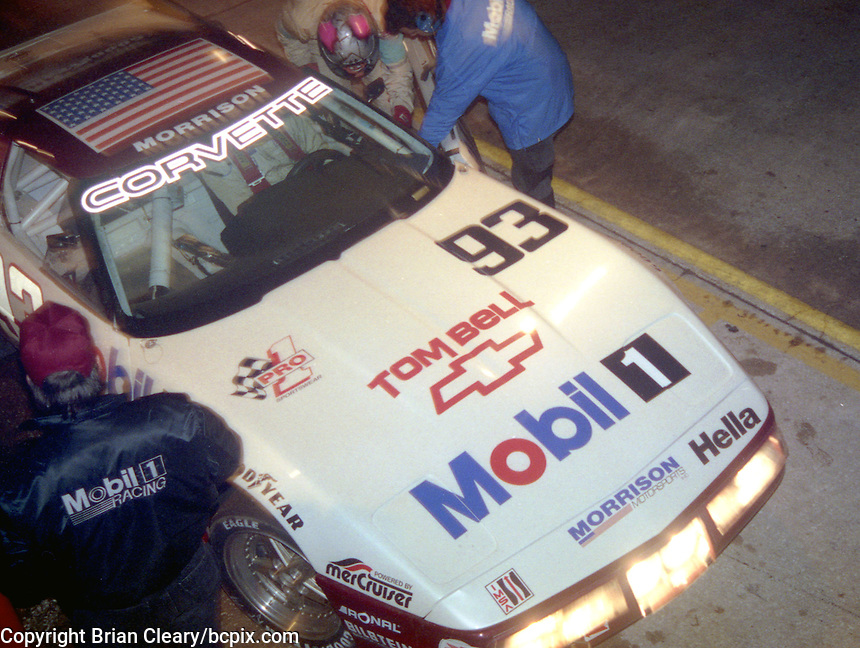 The #93 Chevrolet Corvette of Jim Minneker, Ron Nelson, Andy Pilgrim and Boris Said makes a pit stop en route to a 15th place finish in the 12 Hours of Sebring, Sebring International Raceway, Sebring, FL, March 20, 1993.  (Photo by Brian Cleary/www.bcpix.com)