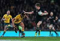 Beauden Barrett heads for the tryline during the Bledisloe Cup and Rugby Championship rugby match between the New Zealand All Blacks and Australia Wallabies at Eden Park in Auckland, New Zealand on Saturday, 25 August 2018. Photo: Simon Watts / lintottphoto.co.nz