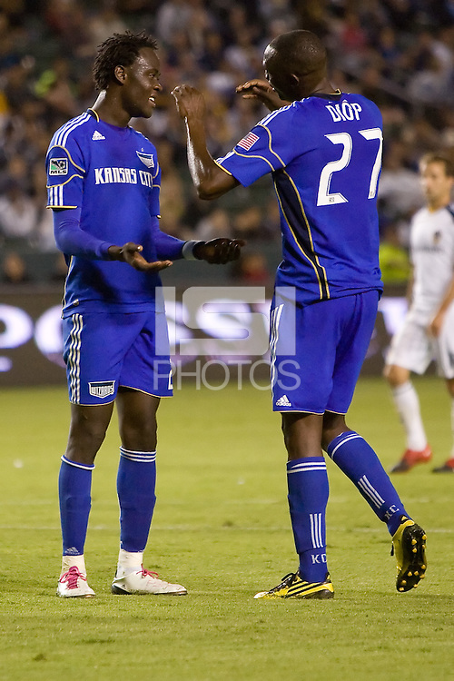 Kansas City Wizard players Kei Kamara (l) and Birahim Diop (r) celebrate a goal. The Kansas City Wizards beat the LA Galaxy 2-0 at Home Depot Center stadium in Carson, California on Saturday August 28, 2010.