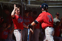 Illinois State Redbirds Jake Sale (24) high fives Ryan Hutchinson (38) during a game against the Northwestern Wildcats on March 6, 2016 at North Charlotte Regional Park in Port Charlotte, Florida.  Illinois State defeated Northwestern 10-4.  (Mike Janes/Four Seam Images)