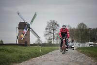 Gregory Rast (SUI/Trek-Segafredo) on the Templeuve sector (Moulin de Vertain)<br /> <br /> Team Trek-Segafredo during their 2017 Paris-Roubaix recon, 3 days prior to the event.