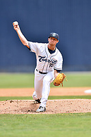 Asheville Tourists pitcher Jared Gesell (16) delivers a pitch during a game against the Rome Braves at McCormick Field on June 25, 2017 in Asheville, North Carolina. The Braves defeated the Tourists 7-2. (Tony Farlow/Four Seam Images)