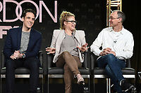 PASADENA, CA - FEBRUARY 4: (L-R) EP/Writer Steven Levenson, and Co-EP/Key Creative Consultant Nicole Fosse, and EP/Writer Joel Fields during the FOSSE / VERDON panel for the 2019 FX Networks Television Critics Association Winter Press Tour at The Langham Huntington Hotel on February 4, 2019 in Pasadena, California. (Photo by Frank Micelotta/FX/PictureGroup)
