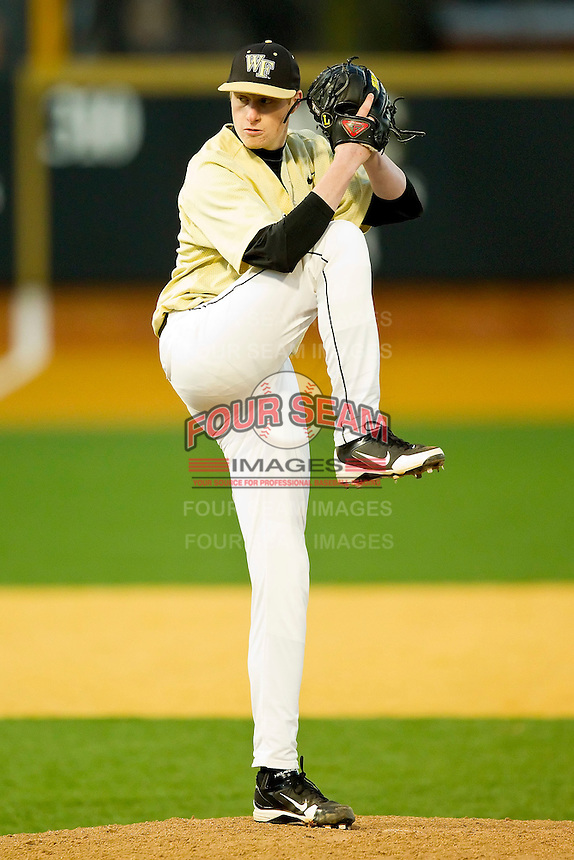 Relief pitcher John McLeod #17 of the Wake Forest Demon Deacons in action against the Georgetown Hoyas at Wake Forest Baseball Park on February 26, 2012 in Winston-Salem, North Carolina.  The Demon Deacons defeated the Hoyas 5-2.  (Brian Westerholt / Four Seam Images)