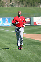 Torii Hunter #48 of the Los Angeles Angels participates in batting practice during spring training workouts at the Angels complex on February 22, 2011  in Tempe, Arizona. .Photo by:  Bill Mitchell/Four Seam Images.
