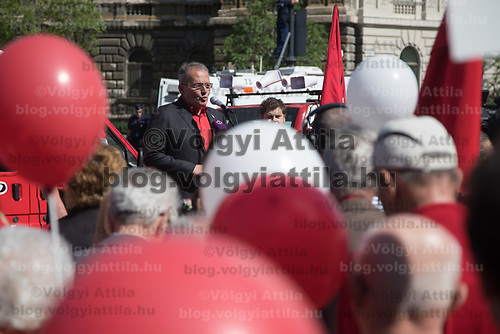 Gyula Thurmer leader of the Hungarian Workers' Party delivers his speech before the members of the Hungarian Workers' Party march together celebrating International Workers' Day in Budapest, Hungary on May 1, 2018. ATTILA VOLGYI