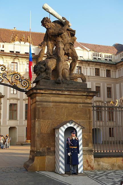 Guard sentry on the gates of Prague Castle - Czech Republic