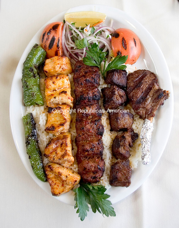 WATERBURY, CT- 07 JAN 2008- 010708JT05-<br /> The mixed charcoal grill platter at Anatolia's Restaurant, specializing in Turkish cuisine, on Plank Road in Waterbury. <br /> Josalee Thrift / Republican-American