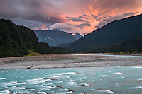 Sunset in Whataroa Valley with Whataroa River, West Coast, South Westland, South Island, New Zealand