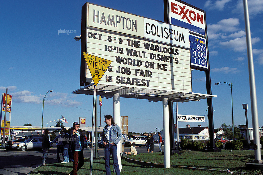 Looking for a Ticket by the Coliseum Marquee, roadside. Outside the Coliseum, Scenes before the Second Warlocks Show. The Grateful Dead Live at The Hampton Coliseum 9 October 1989. Too bad about the positioning of that damn Exxon sign, except for the gas prices!