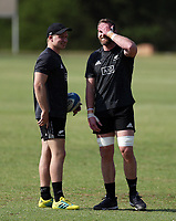 PRETORIA, SOUTH AFRICA - OCTOBER 05: Jack Goodhue with Kieran Read during the Rugby Championship New Zealand All Blacks captain's run at St David's Marist Inanda in Sandown, South Africa on Friday, October 5, 2018. Photo: Steve Haag / stevehaagsports.com