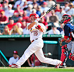 10 March 2010: St. Louis Cardinals' catcher Matt Pagnozzi in action during a Spring Training game against the Washington Nationals at Roger Dean Stadium in Jupiter, Florida. The Cardinals defeated the Nationals 6-4 in Grapefruit League action. Mandatory Credit: Ed Wolfstein Photo