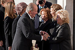 Spain King Juan Carlos I and Spain Queen Sofia greet Terrorism Victims Association representatives while attend the 11M March 11, 2004 terrorist attempt remember mass at Almudena Cathedral in Madrid, Spain. March 11, 2014. (ALTERPHOTOS/Victor Blanco)