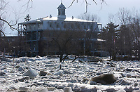 Ice pile up make the Chateaugay river,near Montreal, overflow. March7 2004<br /> <br /> photo : (c)  Images Distribution