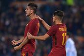 1st December 2017, Stadio Olimpico, Rome, Italy; Serie A football. AS Roma versus Spal; Lorenzo Pellegrini Roma celebrates the goal with Uber.