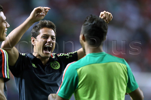 22.07.2015. Atlanta, GA, USA.  Mexico players Javier Chicharito Hernandez (left) and Giovanni dos Santos (MEX) (right). The Panama Men's National Team played the Mexico Men's National Team at the Georgia Dome in Atlanta, Georgia in a 2015 CONCACAF Gold Cup semifinal match.