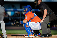 Syracuse Mets catcher Rene Rivera (44) during an International League game against the Charlotte Knights on June 11, 2019 at NBT Bank Stadium in Syracuse, New York.  Syracuse defeated Charlotte 15-8.  (Mike Janes/Four Seam Images)