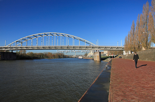"""The bridge over the Rhine river, focal point of the Battle of Arnhem, September 1944, and subject of the movie """"A Bridge Too Far"""", Arnhem, The Netherlands."""