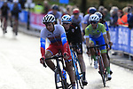 The peloton including Mikhail Fokin (RUS) into Harrogate for the first time during the Men U23 Road Race of the UCI World Championships 2019 running 186.9km from Doncaster to Harrogate, England. 27th September 2019.<br /> Picture: Eoin Clarke | Cyclefile<br /> <br /> All photos usage must carry mandatory copyright credit (© Cyclefile | Eoin Clarke)