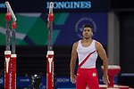 Mcc0055084 . Daily Telegraph<br /> <br /> England's Louis Smith on the Parallel Bars whilst competing in the Artistic Gymnastics Men's Team Finals on Day 6 of the 2014 Commonwealth Games in Glasgow today .<br /> <br /> 29 July 2014