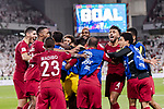 Players of Qatar after Hasan Al Haydos of Qatar scores a goal during the AFC Asian Cup UAE 2019 Semi Finals match between Qatar (QAT) and United Arab Emirates (UAE) at Mohammed Bin Zaied Stadium  on 29 January 2019 in Abu Dhabi, United Arab Emirates. Photo by Marcio Rodrigo Machado / Power Sport Images