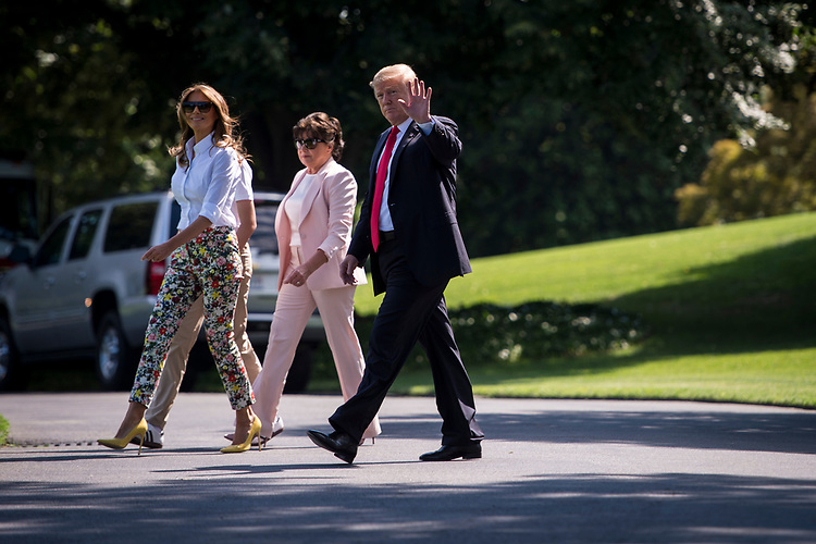 UNITED STATES – June 29: Left, Barron and First Lady Melania Trump, her mother, Amalija Knavs, and President Donald Trump make their way towards Marine One from the White House Friday June 29, 2018.  (Photo By Sarah Silbiger/CQ Roll Call)