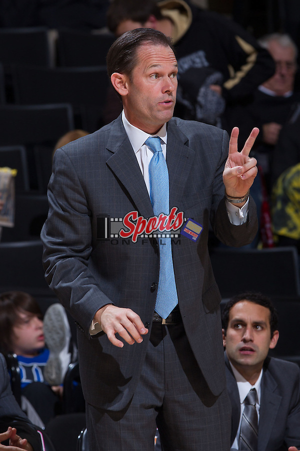 The Citadel Bulldogs head coach Chuck Driesell calls a play from the sideline during first half action against the Wake Forest Demon Deacons at the LJVM Coliseum on November 21, 2013 in Winston-Salem, North Carolina.  The Demon Deacons defeated the Bulldogs 82-54.  (Brian Westerholt/Sports On Film)