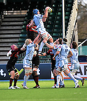 Hendon, England. Michael Paterson of Cardiff Blues wins the line out during the LV= Cup match for the first professional rugby game on the artificial turf pitch made for rugby between Saracens and Cardiff Blues at Allianz Park Stadium on January 27, 2013 in Hendon, England.
